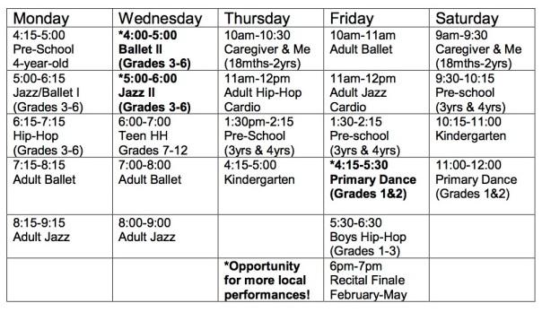 Exhale 2018-2019 Schedule