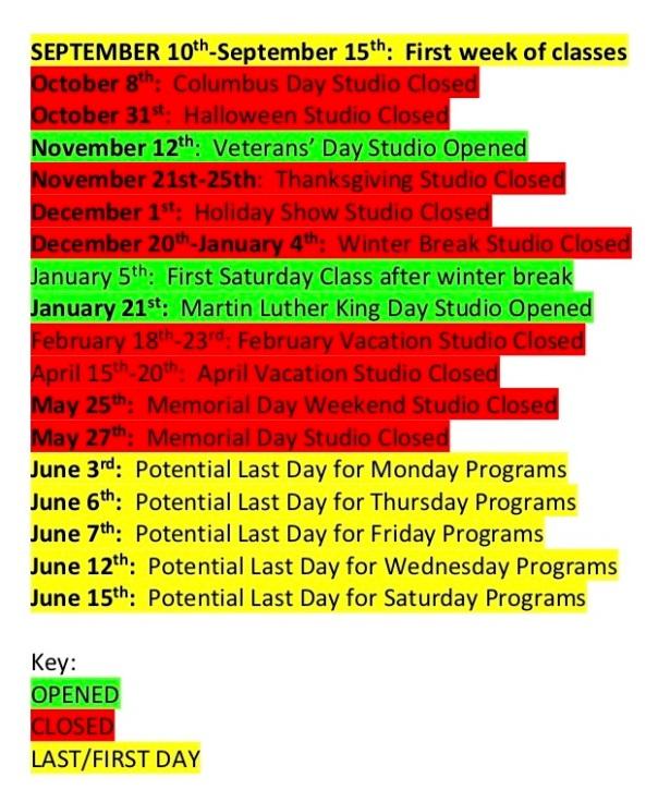 Exhale 2018-2019 Closing Calendar